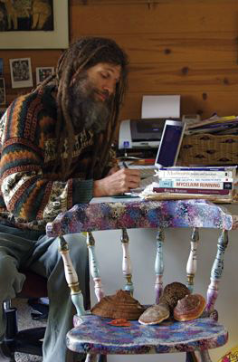 Frank Cook in 2007, working on my mushroom book
